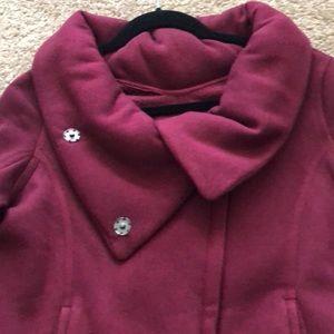 Burgundy button zip blazer